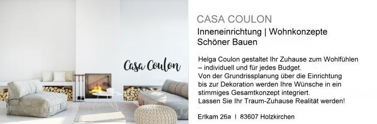 Casa Coulon: Helga Coulon gestaltet Ihr Zuhause zum Wohlfühlen – individuell und für jedes Budget. Von der Grundrissplanung über die Einrichtung bis zur Dekoration werden Ihre Wünsche in ein stimmiges Gesamtkonzept integriert. Lassen Sie Ihr Traum-Zuhause Realität werden!